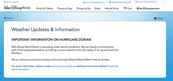 Hurricanes at Disney World